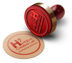 Siegelstempel mit rotem Abdruck